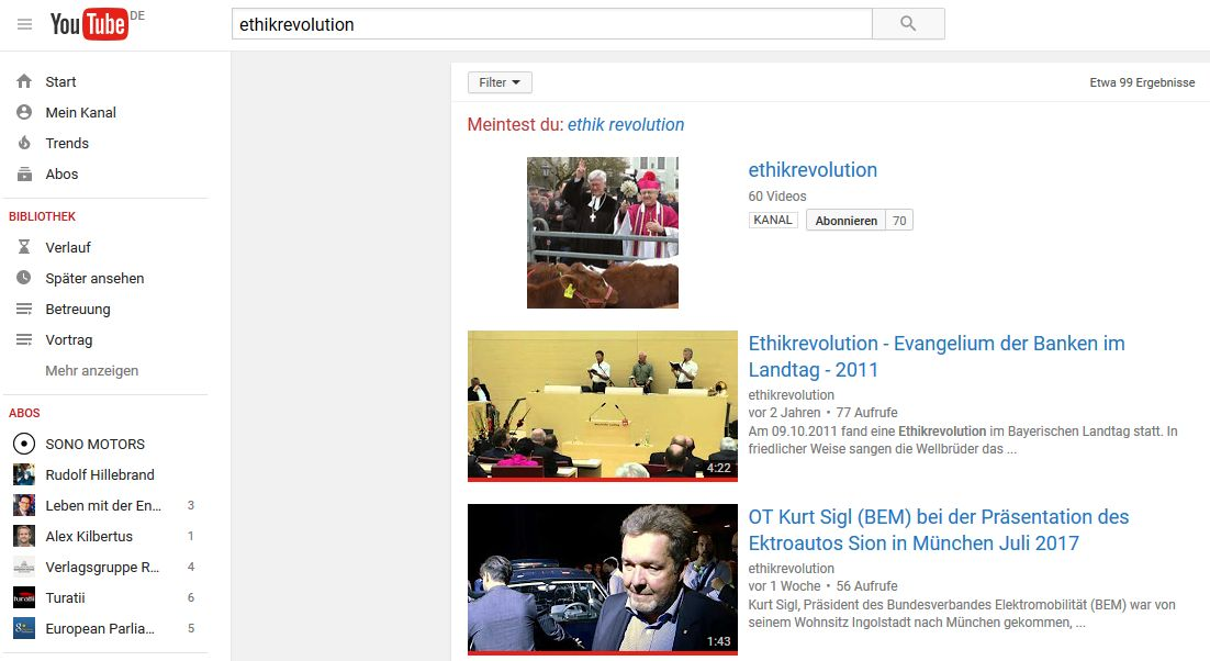 ethikrevolution auf youtube
